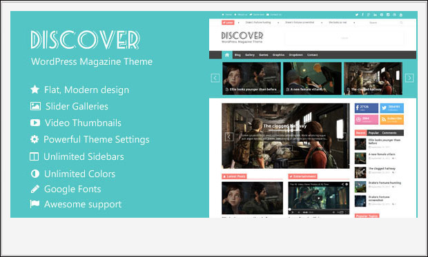Discover -Responsive Three Column WordPress Theme