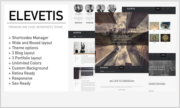 Elevetis -Single Page WordPress Theme