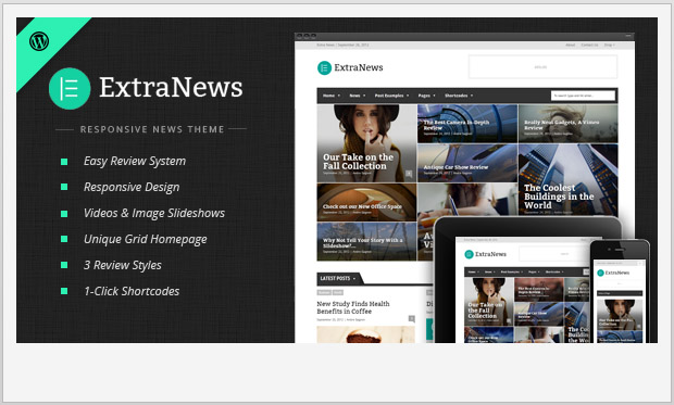ExtraNews -Responsive Magazine Style WordPress Theme
