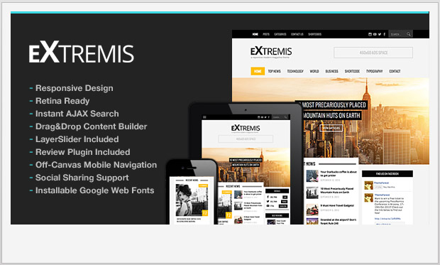 Extremis -Responsive Three Column WordPress Theme