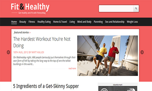 Fit & Healthy -Responsive Three Column WordPress Theme