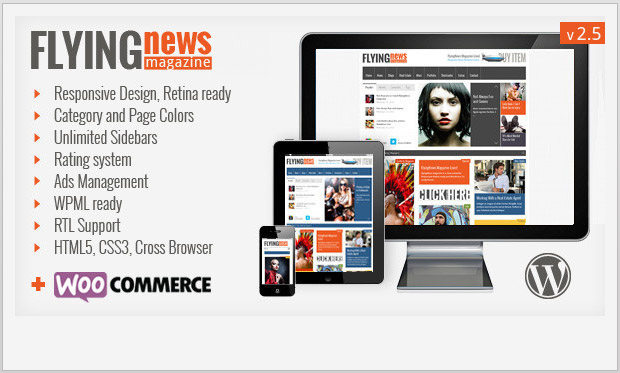 FlyingNews -Responsive Magazine Style WordPress Theme
