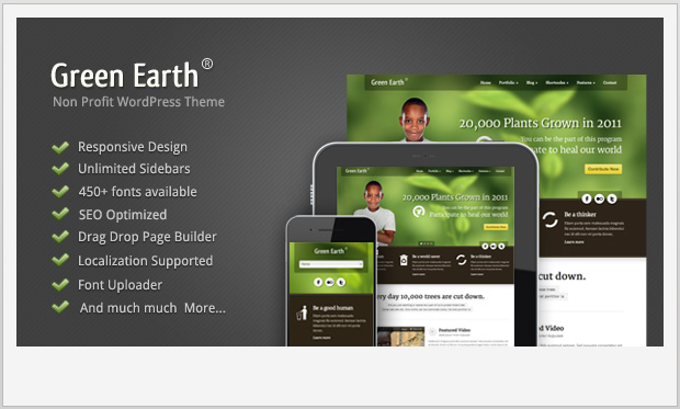 Green Earth -Responsive charity wordpress theme