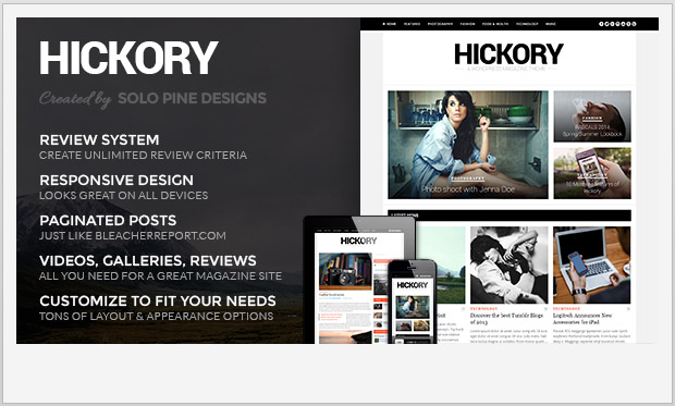 Hickory -Responsive Magazine Style WordPress Theme