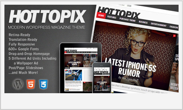 Hot Topix -Responsive Magazine Style WordPress Theme