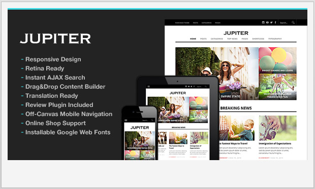 Jupiter -Responsive Three Column WordPress Theme