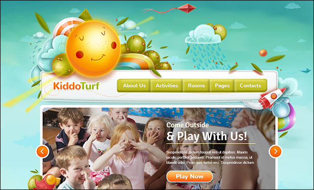 Kiddo Turf -Responsive Three Column WordPress Theme