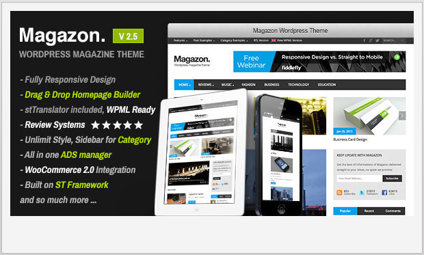 Magazon -Responsive Magazine Style WordPress Theme