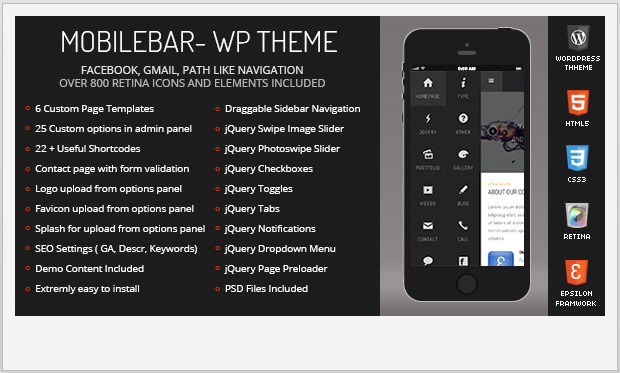 Mobile Bar -Responsive Three Column WordPress Theme