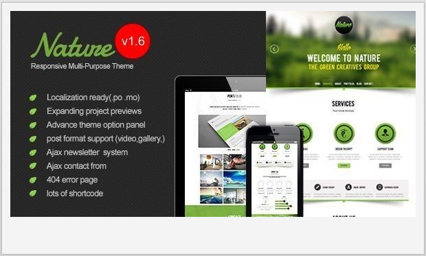 Nature -Single Page WordPress Theme