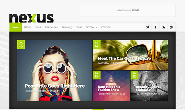 Nexus -Responsive Three Column WordPress Theme