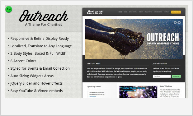 Outreach -Responsive charity wordpress theme