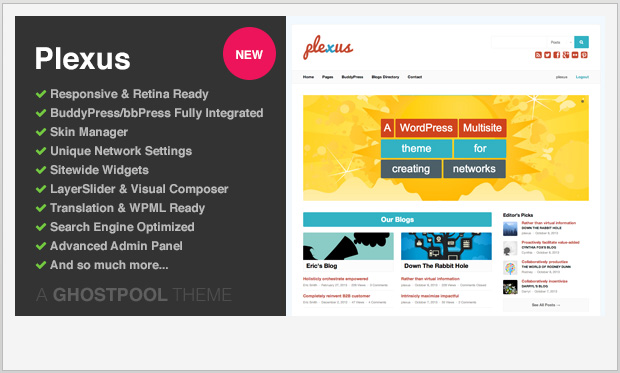 Plexus -Responsive Buddypress WordPress Theme