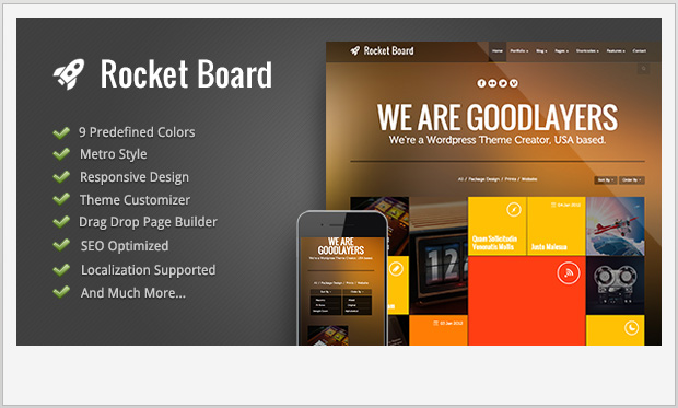 Rocket Board -Responsive Metro WordPress Theme