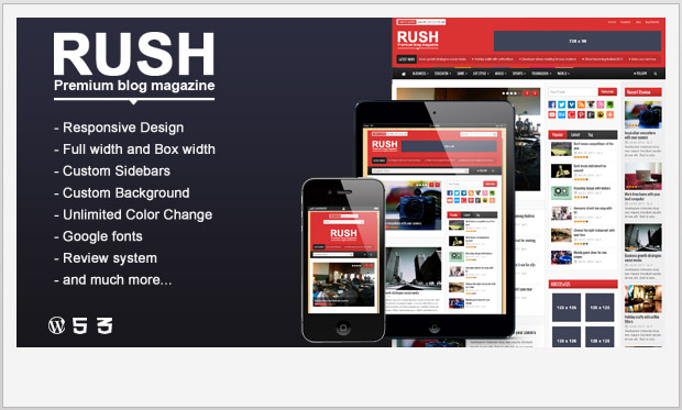 Rush -Responsive Three Column WordPress Theme