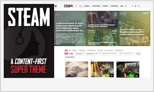 Steam -Responsive Three Column WordPress Theme