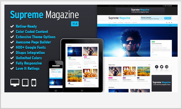 Supreme -Best Responsive WordPress Theme for Bloggers