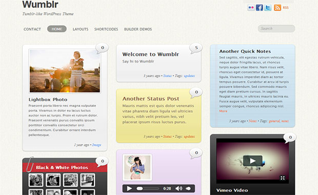 Wumblr -Responsive Three Column WordPress Theme