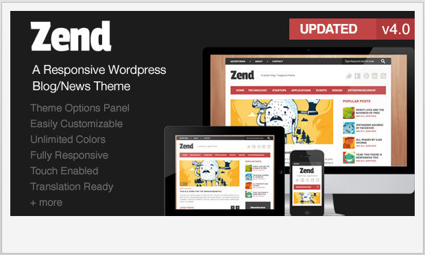 Zend -Best Responsive WordPress Theme for Bloggers